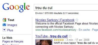 Sarkozy trou du cul pour Google